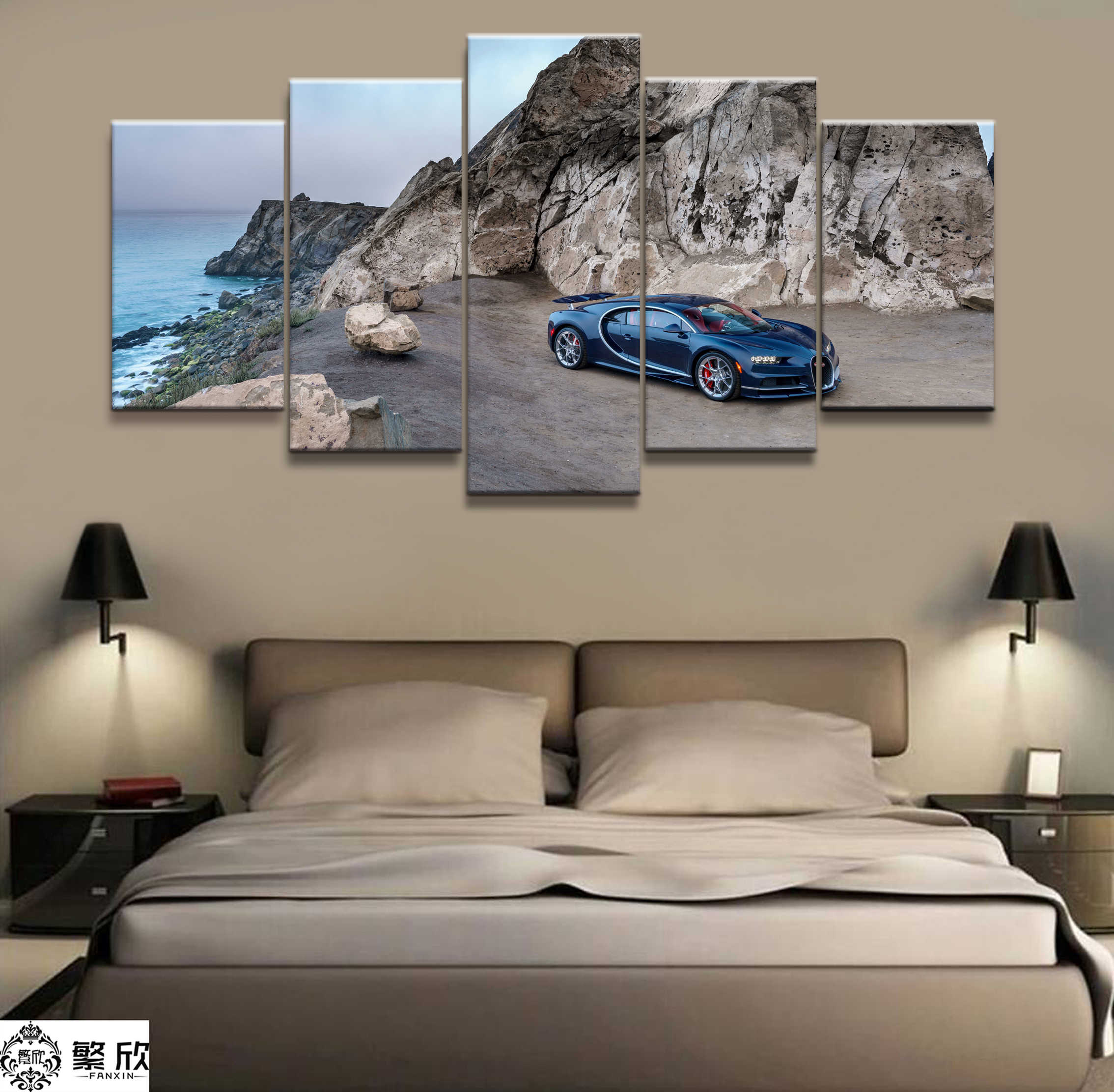 Wall Art Poster Painting Modular Pictures For Living Room Decorative Pictures Canvas Printed 5 Panel Super Car Chiron Scenery