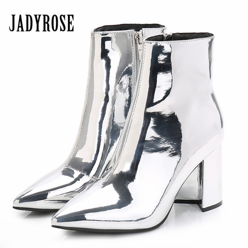 Jady Rose Sliver Gold Women Ankle Boots Pointed Toe Chunky High Heel Boots Mirror Metallic Women