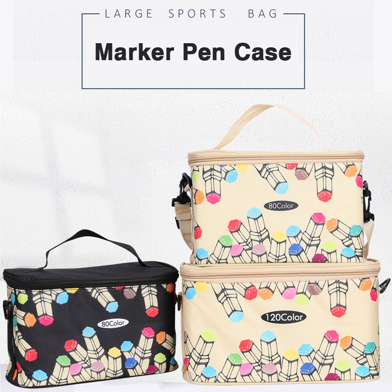 80/120 big capacity Oxford Pencil Case school Marker box Pouch Bag Holder Marker Pens Painting Draw Gift For kids Student artist big capacity high quality canvas shark double layers pen pencil holder makeup case bag for school student with combination coded lock