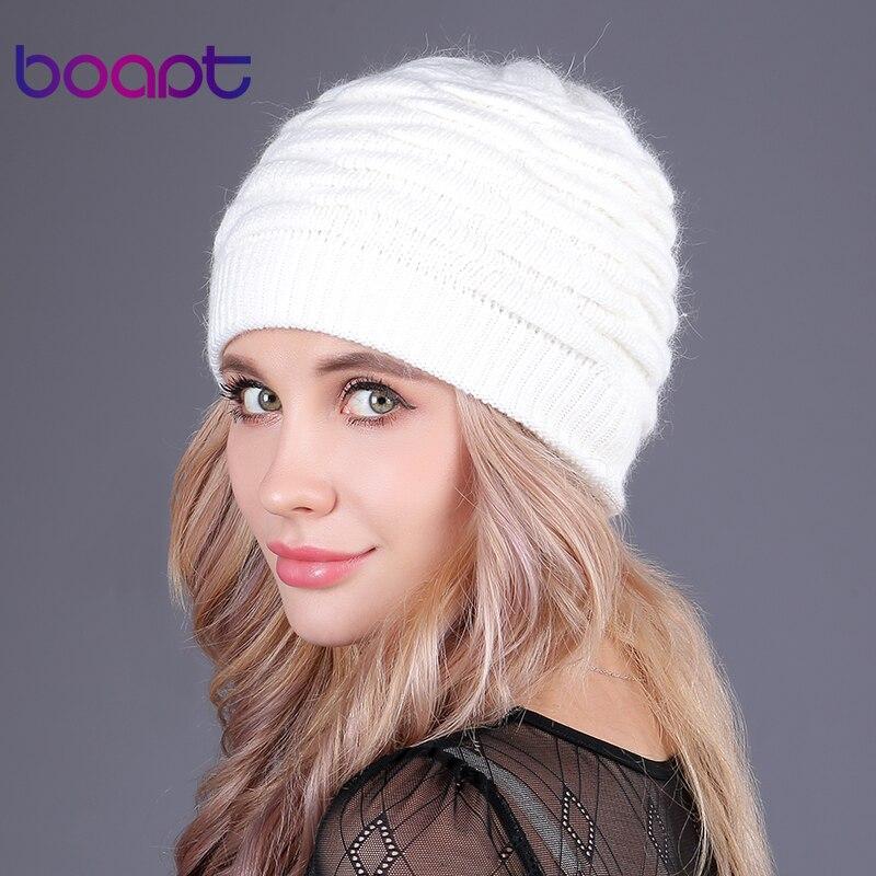 [Boapt] weiche kaninchen doppel stricken dicke bonnet beanie caps warme winter hüte für frauen kappe skullies mützen weibliche hut