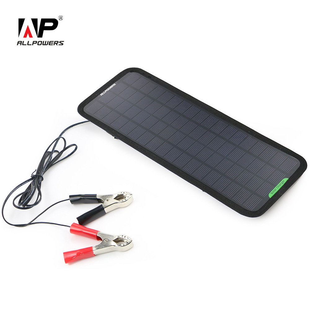 ALLPOWERS Solar Panel Car Charger 12V Battery Charger Maintainer Charger for Automobile Motorcycle Tractor Boat RV Batteries allpowers portable solar car battery charger automatic 18v 12v 7 5w solar panel charger battery maintainer boat motorcycle