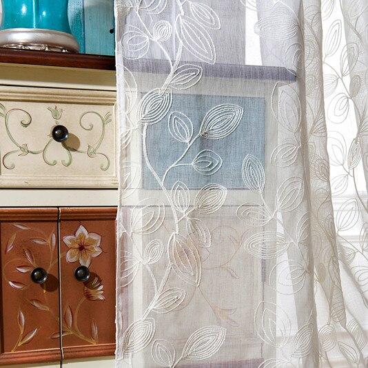 Cortinas para Sala de Estar Cortinas de Tule Decoração de Casa [lento Alma] Bordado Algodão Folha Folhas Brancas Cortinas Tecido
