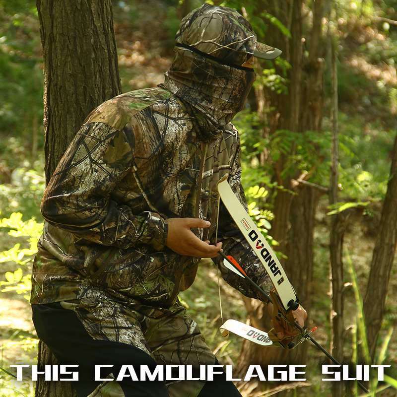 Bionic jungle camouflage hunting clothes suit breathable sun protection clothing fishing clothes Hunting Get washcloth jungle new outdoor men s recreational fishing hunting baseball cap bionic camouflage