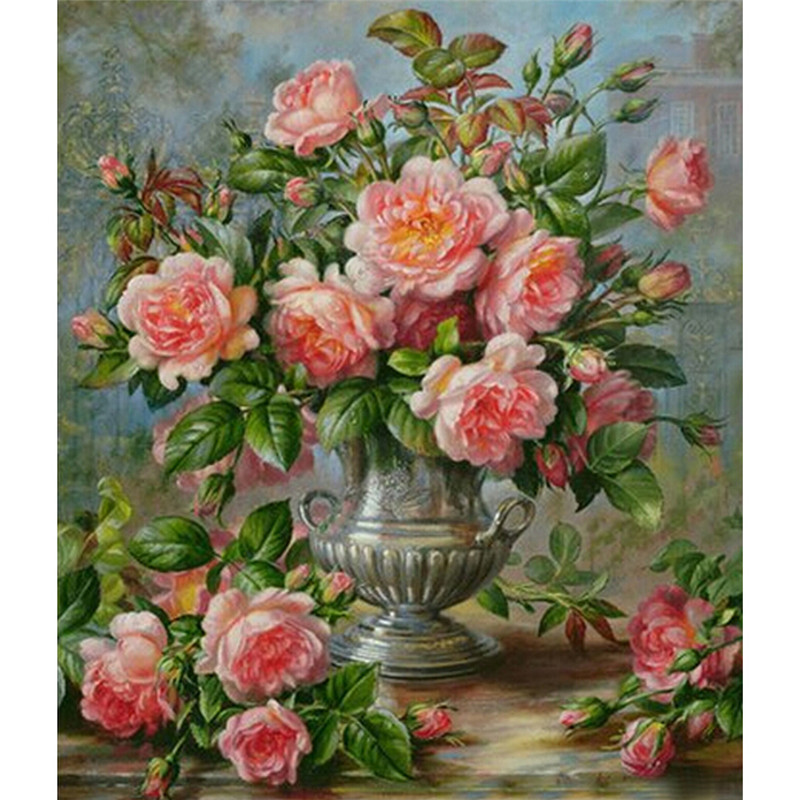 Pictures d diy needlework diamond embroidery flowers in