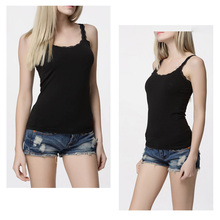 2017 Women Sexy Soft Tank Tops Solid Sleeveless Lace Vest Hot Camisole Slim Top Cropped For Ladies 4 Colors 2 PCS/Lot