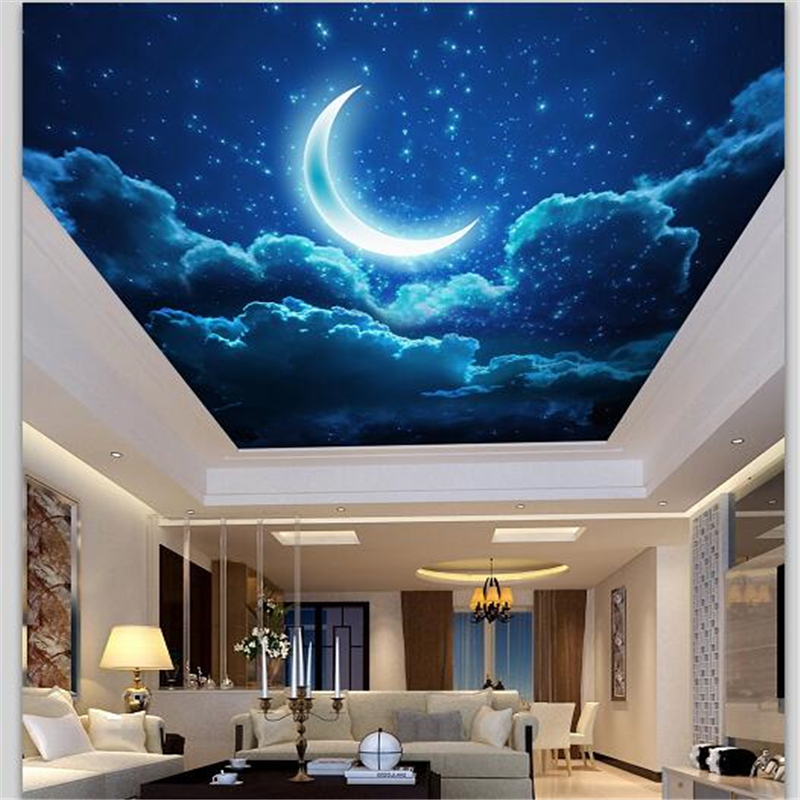 beibehang Customized Large Wallpaper 3d Painting Style Night Sky Crescent Moon Living Ro ...