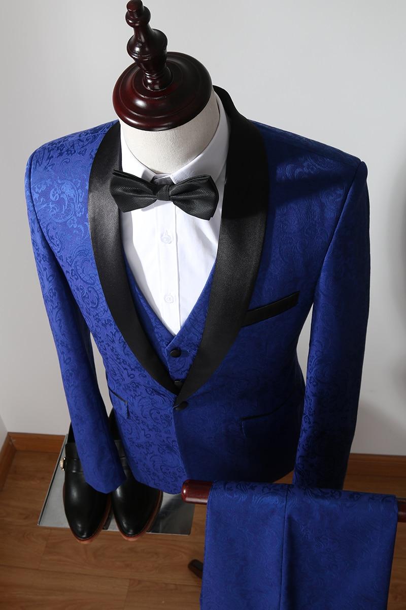 Picture Slim Marié Blazers Mariage Smoking Mâle Qualité Haute Formelle Costume Hommes De Costumes Jacquard Pantalon Gilet Affaires Fit Bal Color veste Marque xqvwBRZ