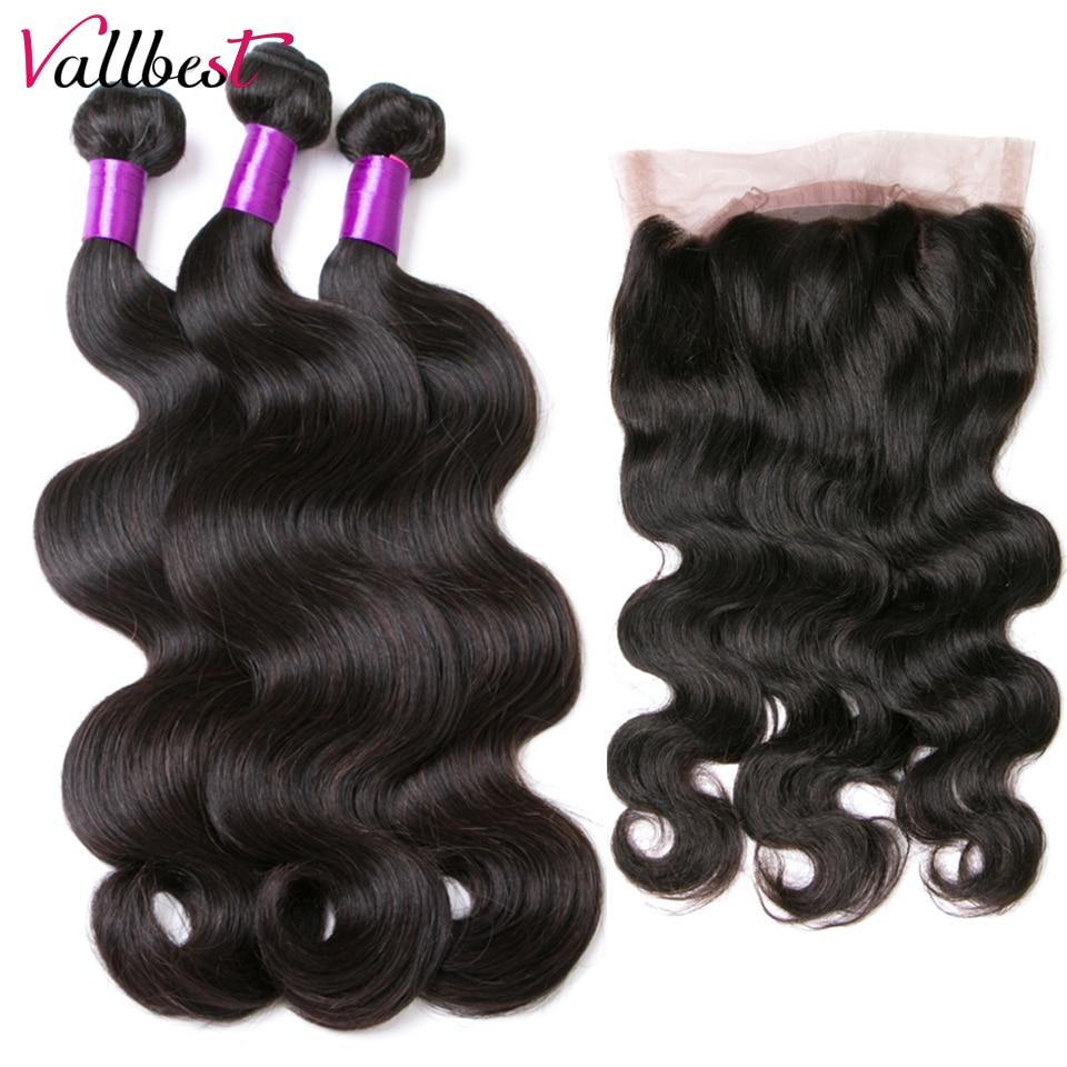 Vallbest пучки человеческих волос с закрытием бразильские волнистые 360 кружевные фронтальные пучки 4 шт./лот F Remy наращивание волос