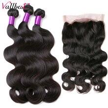 Человеческие волосы Vallbest, волнистые пучки с застежкой, бразильские волнистые волосы 360, фронтальные с пучками, 4 шт./лот, волосы для наращиван...