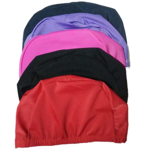 d6deae524 Tecido elástico Proteger Os Ouvidos Cabelos Longos Esportes Piscina Nadar  Chapéu Touca de natação Para Homens