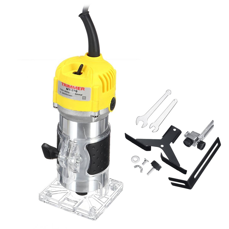 Us Plug, 220V 1800W Electric Trimmer 6.35Mm Hand Wood Router Trimming Cutting Carving Machine Woodworking Laminator Tool