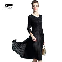 Fitaylor Vintage Dress 2017 New Spring Summer Women Dress Chinese Style Elegant Lace Patchwork Slim O