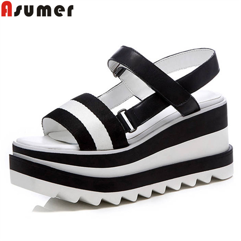 ASUMER 2018 fashion summer new arrive shoes woman platform wedges sandals women genuine leather genuine leather high heels shoes