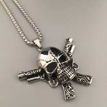 Punk Rock Style Skull Pistol Gun Pendant Necklace Ancient Silver Plated Men Hip Hop Necklace Boyfriend Gift