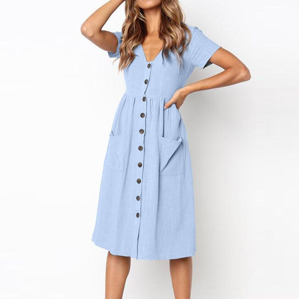 Dress Womens Summer Dress 2020 Beach Comfortable Solid Short Sleeve Buttons Party Dress Vestidos Dresses платье женское 2020