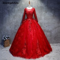 Darlingoddess 2018 Newest Red Wedding Dresses Lace Beaded Photography Sexy Ball Gown Wedding Gowns Long Sleeves
