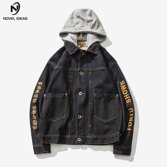 13ddb562c2 Novel ideas Men Jeans Jacket Spring and Autumn Men s Embroidery Hooded Hat  Detachable Denim jacket And Coats Men Hip Hop Clothes