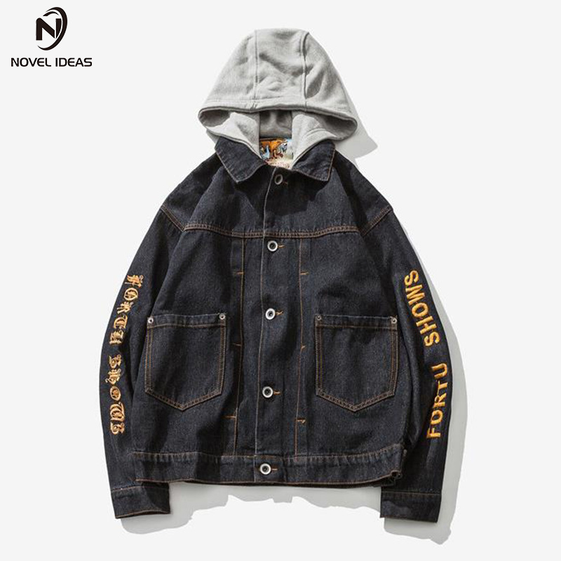Novel ideas Men Jeans Jacket Spring and Autumn Mens Embroidery Hooded Hat Detachable Denim jacket And Coats Men Hip Hop Clothes