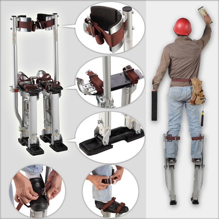2018 New Aluminum Tool Stilts 24 to 40 Adjustable Inch Drywall Stilt for Taping Painting Painter Taping silver