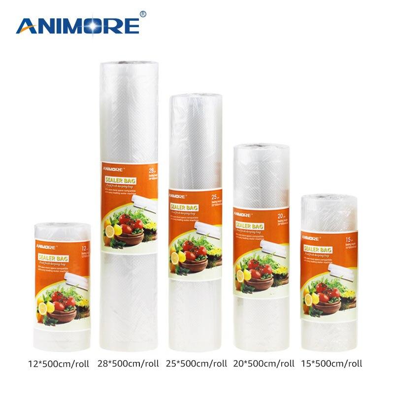 ANIMORE Vacuum Packaging Rolls12x500 15x500 20x500 25x500 28x500 Vacuum Heat Sealer Food Saver Bags Food Storage Bags FB-01