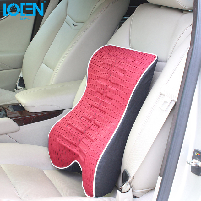 High Quality Memory Cotton Car Seat Cover Waist Support Rest Back Pillow Comfortable Cushion Black Red For Car Seat Office Chair
