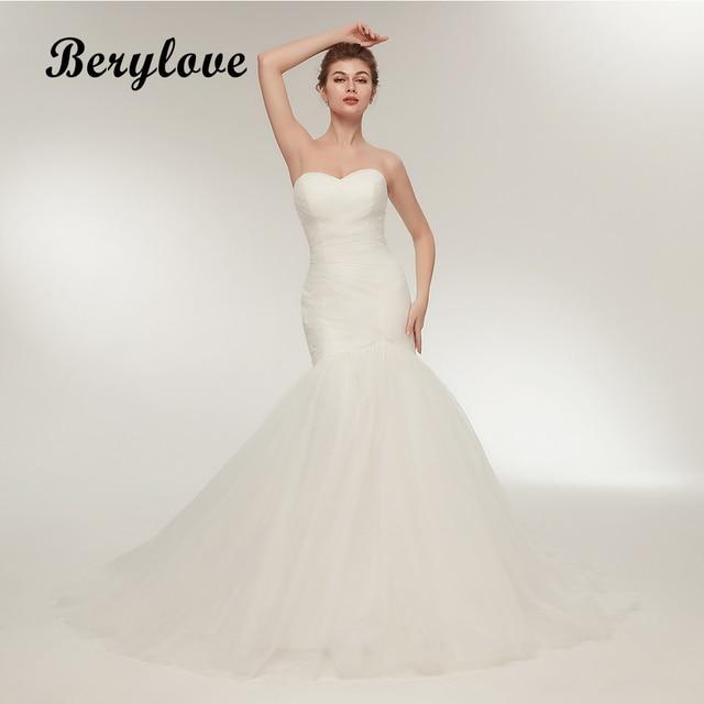 b13e31cdd70 BeryLove Ivory Mermaid Wedding Dress 2018 Long Tulle Wedding Dresses Plus  Size Wedding Gowns Dresses For Wedding Robe De Mariee