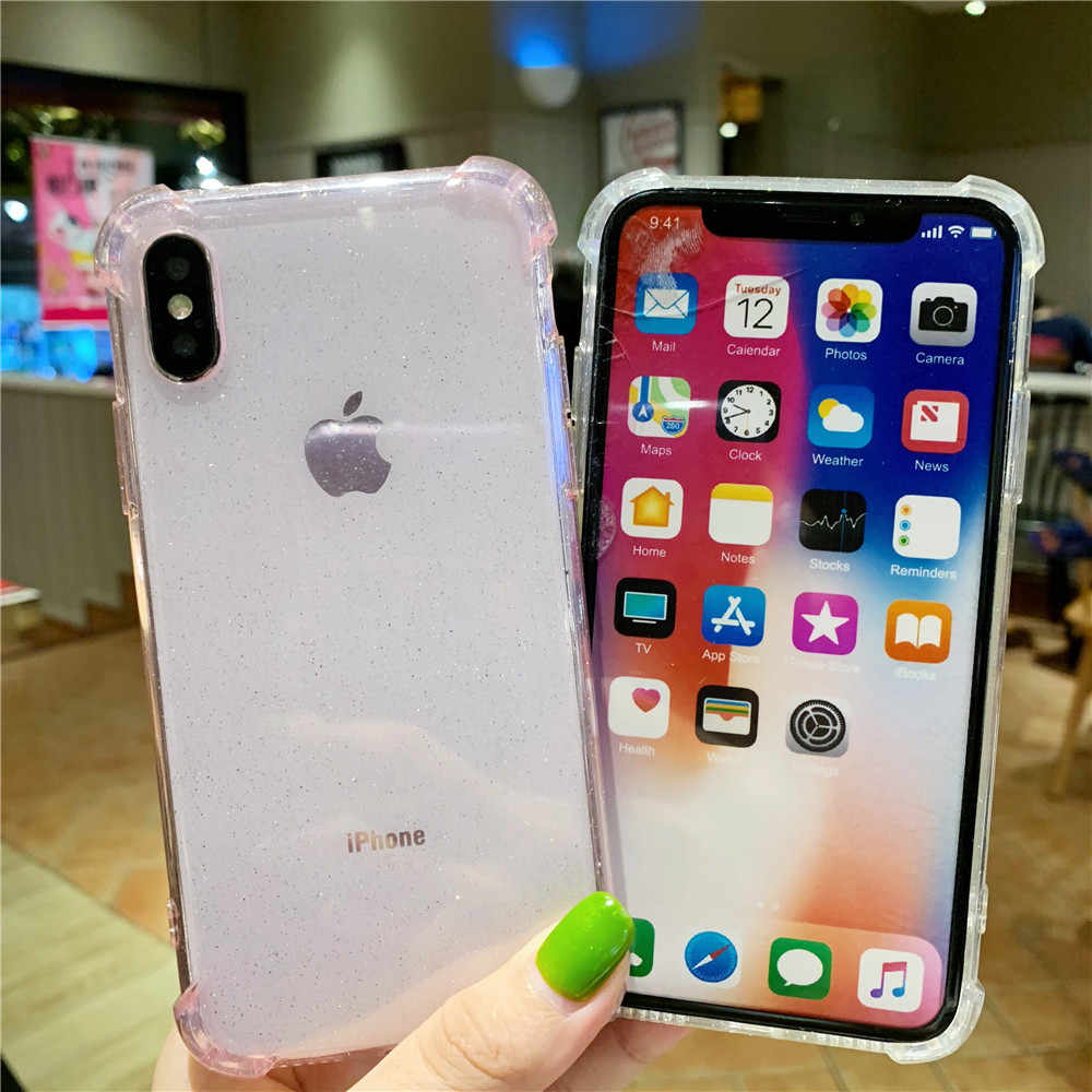 Bling Glitter นุ่มสำหรับ iPhone X XR Xs สูงสุด 8 7 6 6S Plus เบาะอากาศคริสตัลกันชนกันกระแทกกรณีปกหลัง