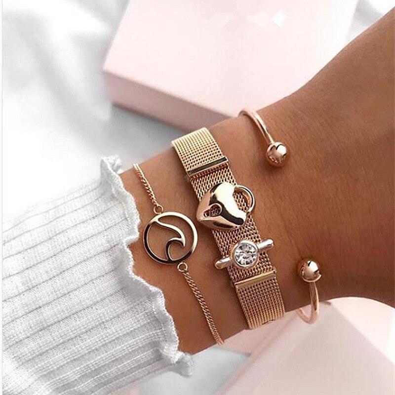 Mavis Hare Edelstahl Rose Gold Welle Armband Set mit Ball Manschette Armreif Herz Lock & Kristall Mesh Charme Armband für frauen