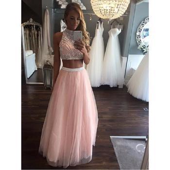 bajo precio d26cc c3dfa Rosa de dos piezas vestidos largos de baile 2019 vestidos de gala con  cuentas de cristal de cuello alto de una línea Formal de mujer, noche  vestidos