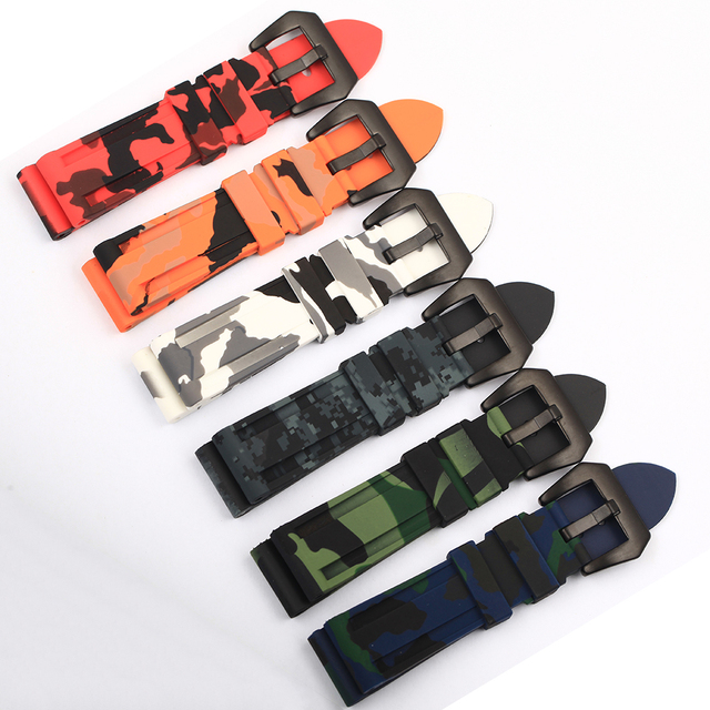 22mm 24mm 26mm Camouflage Colorful Rubber Watch Band Waterproof For Men's Watch