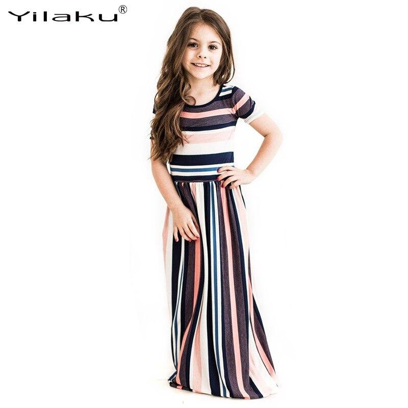 2017 nowych moda dziewczynek w paski sukienka letnia dziewczynka - Ubrania dziecięce - Zdjęcie 3