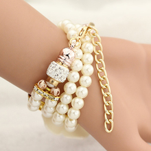 Top Fashion Female Pearl Bracelet Quartz Watches 1.18″ Dial Floral Pattern Womens' Casual Watch Beige/Coffee