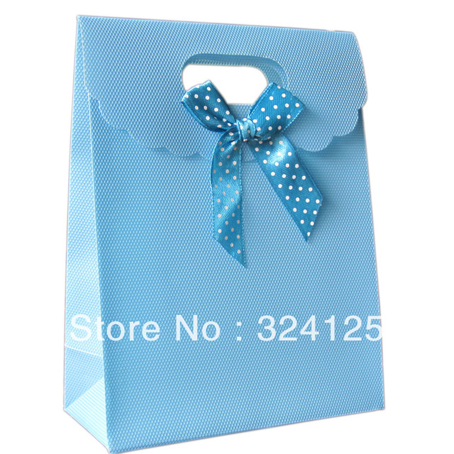 20pcs/lots 25.5*18.5*8cm recycled blue PP gift packaging bag,thickening holiday gift bag,sweet wedding gift bag Free shipping