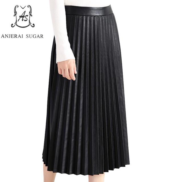 Autumn winter Genuine leather skirts women black sexy slim Package hip OL office real sheepskin female casual long Pleated skirt