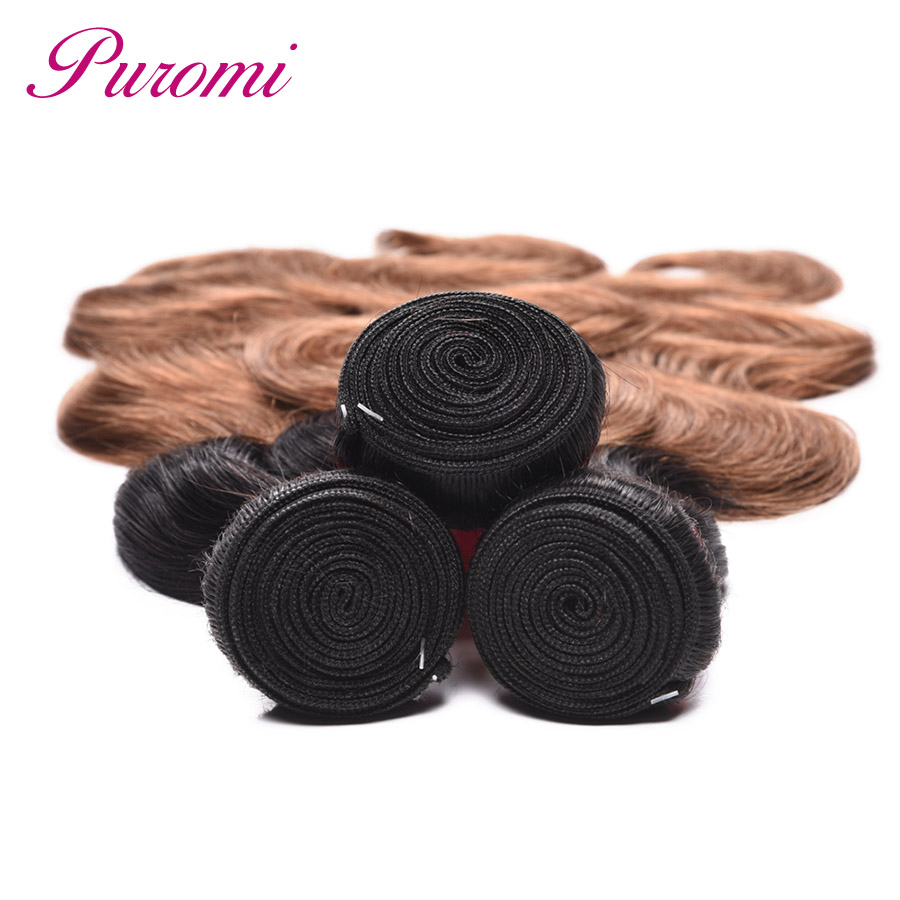 Puromi Body Wave Bundles T1b/30 Human Hair Bundles Ombre Weave 1 Piece Peruvian Hair Bundles Brown Color Non Remy Hair Weave