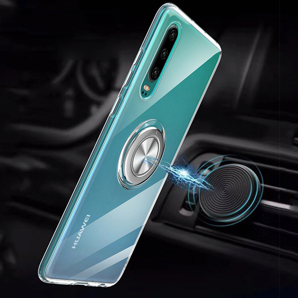 Magnetic Car Holder Case for Huawei P30 Pro P20 Lite Nova 3e 4 Finger Ring 360 Rotation Stand Soft Transparent TPU Back Cover in Fitted Cases from Cellphones Telecommunications