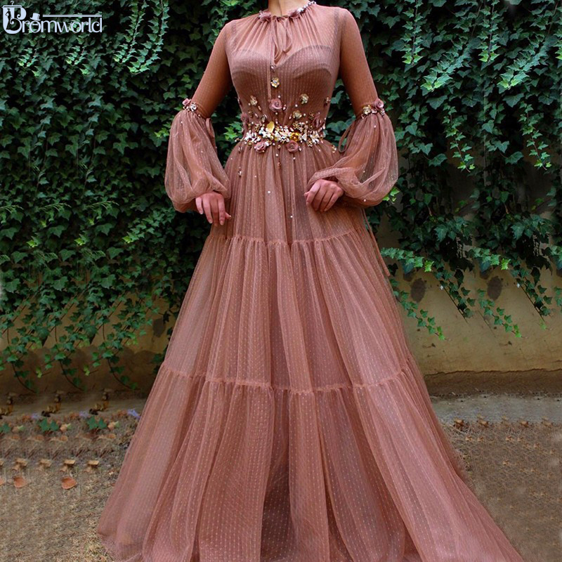 Blush Muslim Evening Dresses 2019 A-Line Long Sleeves Flowers Tulle Islamic Dubai Kaftan Saudi Arabic Elegant Long Evening Gowns