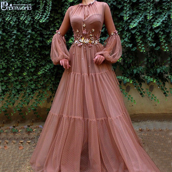 Blush Muslim Evening Dresses 2020 A-Line Long Sleeves Flowers Tulle Islamic Dubai Kaftan Saudi Arabic Elegant Long Evening Gowns muslim turkish evening dresses 2018 a line long sleeves tulle appliques beaded dubai saudi arabic long elegant evening gown