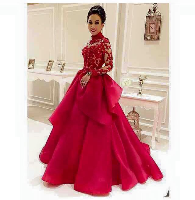 2016 Red renda Applique gaun malam formal Leher tinggi Lengan panjang seksi gaun Prom bola Gaun