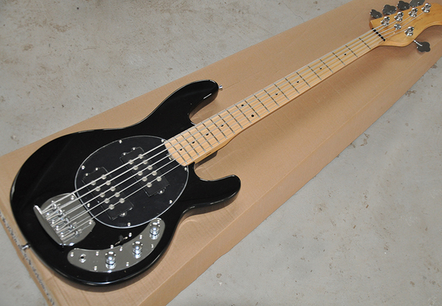 buy custom 5 strings black stingray electric bass guitar with 2 humbuckers. Black Bedroom Furniture Sets. Home Design Ideas