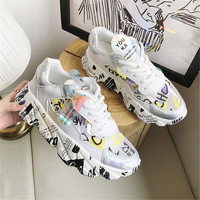 Ladies Glitter Chunky Sneakers Platform Casual Dad Shoes White Dames Sneakers Breathable Mesh Trainers basket chaussure femme