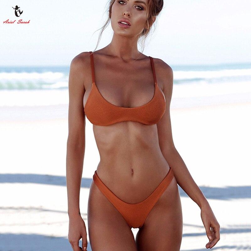 Ariel Sarah Brand 2018 Push Up Bikini Swimwear Women Swimsuit Solid White Bikins Set Biquini Bathing Suit Women Bikinis Women