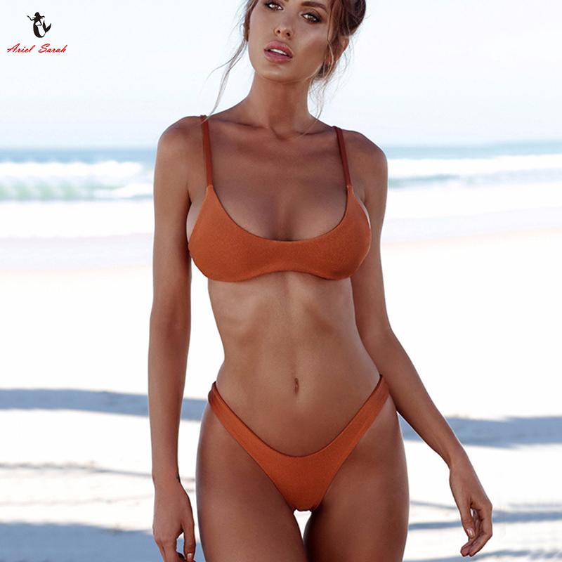 Ariel Sarah Marke 2018 Push Up Bikini Bademode Frauen Badeanzug Solid Weiß Bikins Gesetzt Biquini Badeanzug Frauen Bikinis Frauen
