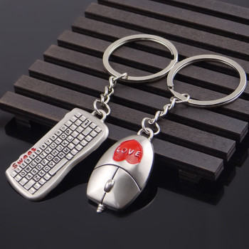 2pcs Mouse And keyboard Pendant Keyring Keychain Keyfob Lover Gift Hot Fashion Lovers Buckle Keychain Gifts Valentines Day #8-9