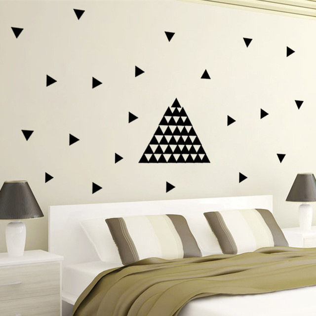 Geometry Decoration Black Pvc Triangles Wall Stickers Removable Modern Home Decor  For Kids Room Bedroom Living