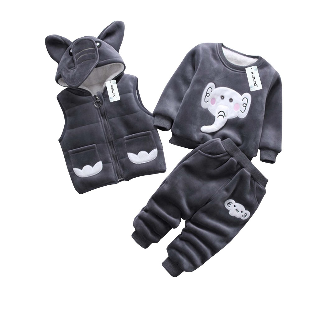 Baby Girl Boy Clothing 2018 Cartoon Pattern Autumn Winter Warm Toddler coat + Shirt + Pants 1 2 3 4 Years Kid Clothing Suit cartoon boy girl design resin desktop decoration