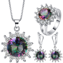 Seanlov New Top White Gold Color Sun Flower Jewelry Set Multicolor Cubic Zircon Pendant/Earrings/Ring Women Wedding Jewelry Sets blucome brand design rose gold color square cubic zircon ceramic earrings ring set chinese porcelain women wedding jewelry sets