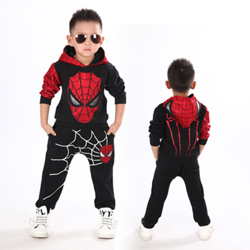 Baby Boy Clothes Cotton Hooded Top+Pants 2 pcs Baby Boy Clothing Set Spider man Toddler Kids Costume Spring Children Clothing