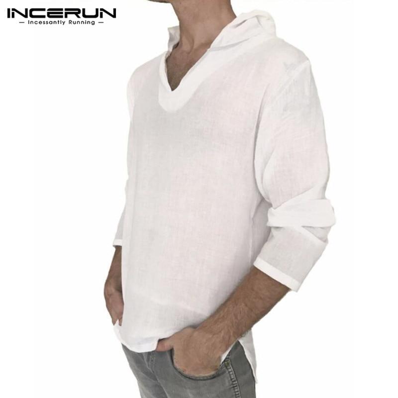 INCERUN Elegant Autumn Tee Shirts Men's T-Shirts Long Sleeve V-Neck Hoodie Hiphop Tops 100%Cotton Shirts Men Clothing Hombre