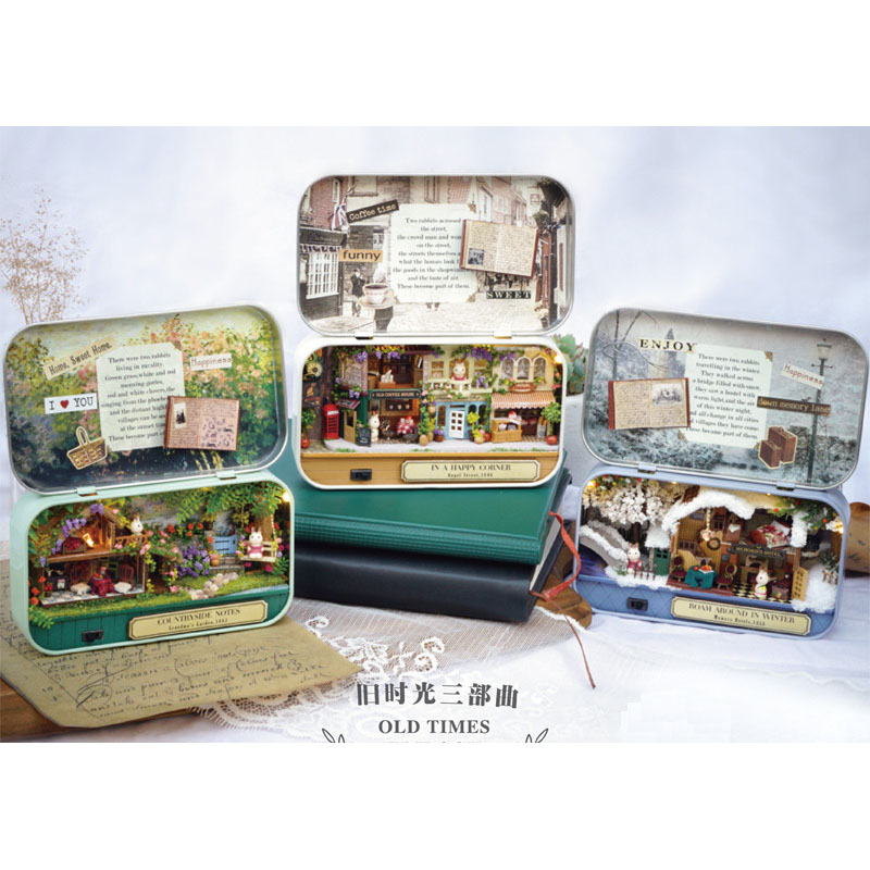 3D Dollhouse Wooden Box Theatre DIY Model Miniatures Wooden Dollhouse Miniature Box Cute Mini Doll House Assemble Kits Gift Toys(China)